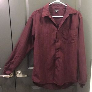 34-36 Long Sleeve Maroon Button Down